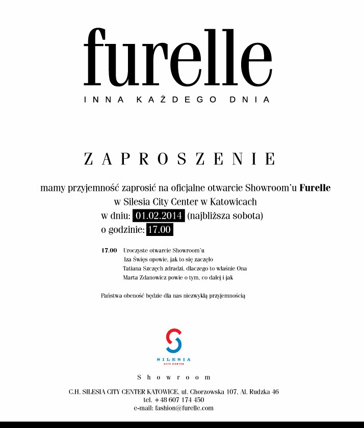 Zaproszenie na otwarcie showroomu Furelle